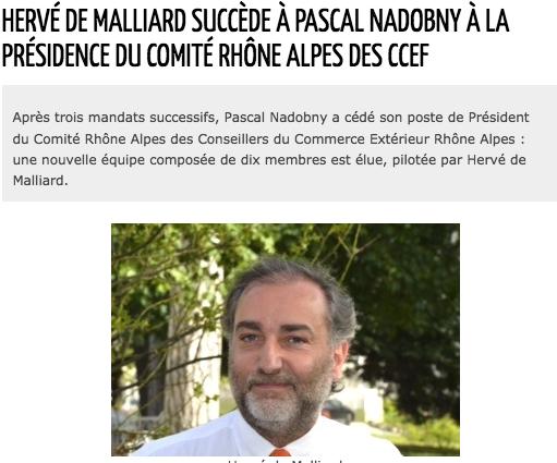 Hervé de Malliard succède à Pascal Nadobny à la présidence de Comité Rhône-Alpes des CCEF