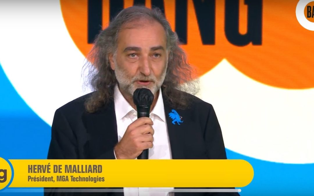 Hervé de Malliard, PDG de MGA Technologies, sur la scène du BIG 2020